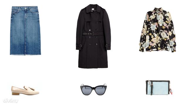 Szoknya -9995 Ft (Zara), kabát - 25995 Ft (Zara), blúz - 8990 Ft (H&M), cipő - 8995 Ft (Mango), napszemüveg - 10 font (Asos), táska - 7995 Ft (Parfois)