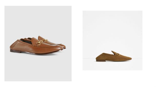 Most komolyan!!! A baloldali amúgy egy Gucci-cipő 178 ezer forintért, míg a szomorú mása Zara, 14.995 Ft.