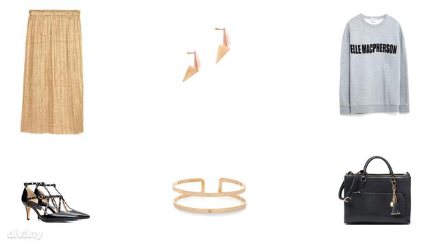Szoknya - 5990 Ft (H&M), fülbevaló - 7,95 euró (Promod), pulóver - 8995 Ft (Zara), cipő - 11995 Ft (Mango), karkötő - 4,99 font (New Look), táska - 14495 Ft (Reserved)