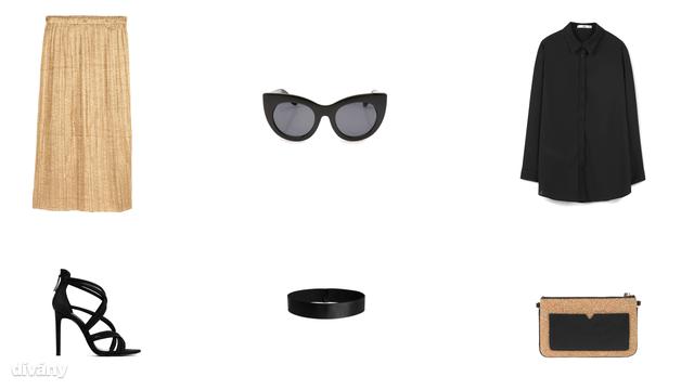 Szoknya - 5990 Ft (H&M), napszemüveg - 9995 Ft (Oysho) , ing - 6995 Ft (Mango), szandál - 12995 Ft (Zara), hajpánt - 1290 Ft (H&M), táska - 7995 Ft (Parfois)