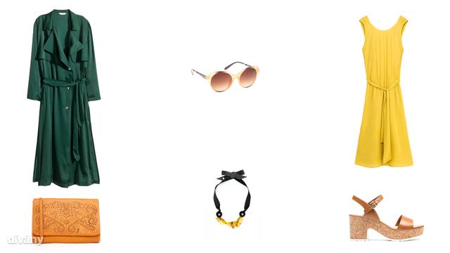 Kabát - 17990 Ft (H&M), napszemüveg - 5495 Ft (Parfois), ruha - 14995 Ft (Zara), táska - 21,99 font (Asos), nyaklánc - 3595 Ft (Mango), szandál - 8995 Ft (Stradivarius)