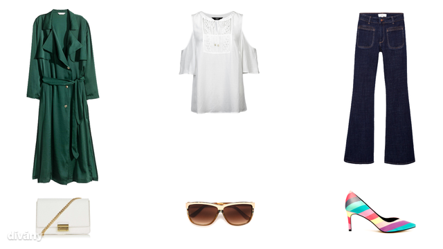 Kabát - 17990 Ft (H&M), blúz - 5590 Ft (F&F), farmernadrág - 9995 Ft (Zara), táska - 30 font (Topshop), napszemüveg - 4995 Ft (Zara), cipő - 25 font (Asos)