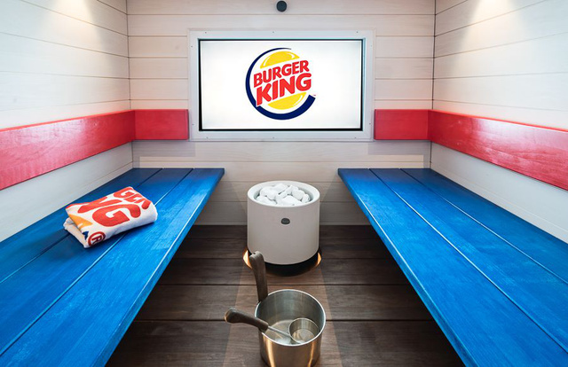 Burger King logós szauna Helsinkiben.