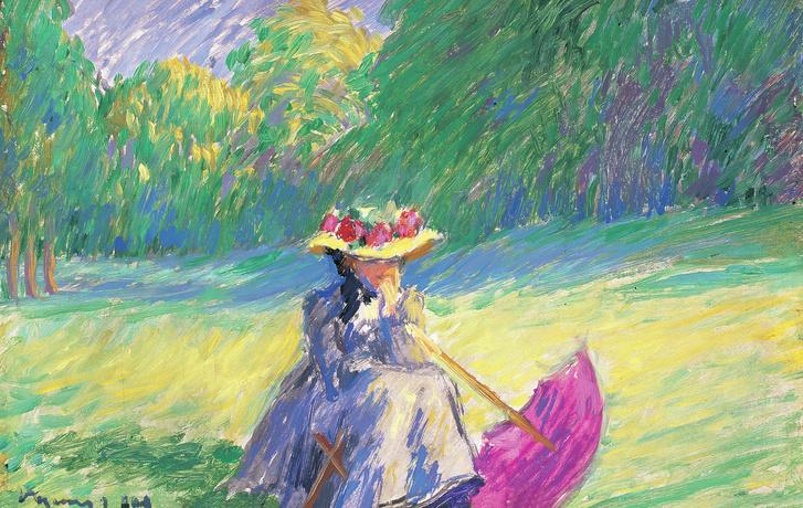 Vaszary János: Ülő nő lila napernyővel