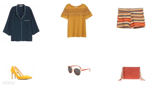 Felső - 9490 Ft (H&M), póló - 3990 Ft (H&M), rövidnadrág - 4995 Ft (Zara), cipő - 9995 Ft (Mango), napszemüveg - 16 font (Topshop), táska - 8995 Ft (Parfois)