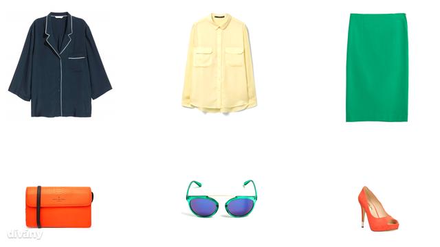 Felső - 9490 Ft (H&M), blúz - 6995 Ft (Mango), szoknya - 9995 Ft (Zara), táska - 55 font (Asos), napszemüveg - 2995 Ft (Reserved), cipő - 9790 Ft (CCC)