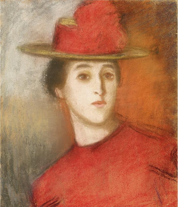 Rippl-Rónai József: Fiatal nő vörös ruhában