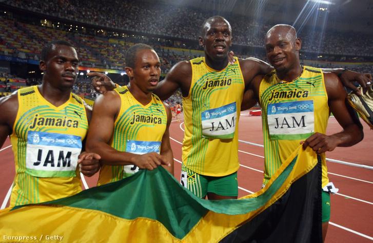 Nesta Carter, Usain Bolt, Michael Frater és Asafa Powell 2008-ban a pekingi olimpián