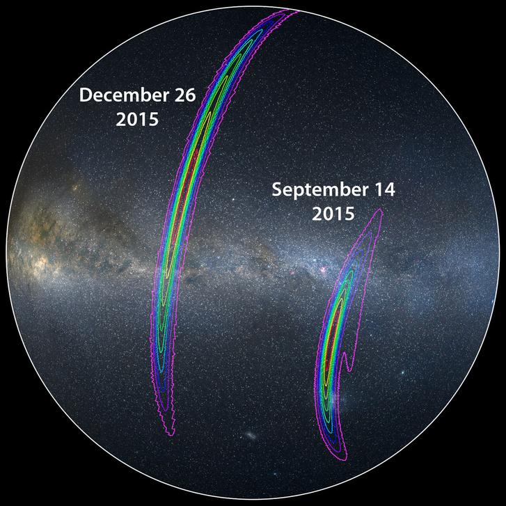 A GW151229 gravitációs hullám forrásának becsült égipozíciója (bal) összehasonlítva az első GW150914-jel forrás pozíciójának rekonstrukciójával (jobb).