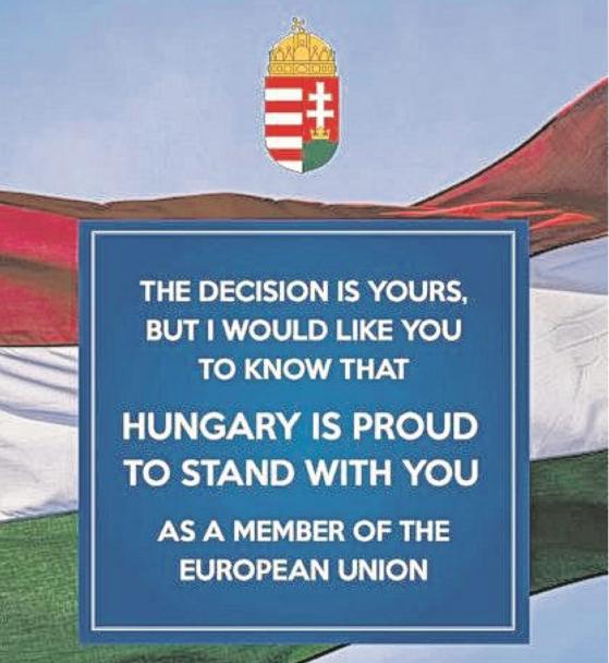 A magyar kormány Nagy-Britannia európai uniós tagságának megőrzése mellett érvelő hirdetést jelentet meg a brit sajtóban