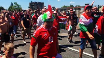 Így hömpölygött a magyar tömeg a lyoni stadionhoz
