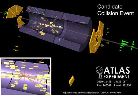 Először az ATLAS detektronál észleltek ütközést 14:22-kor