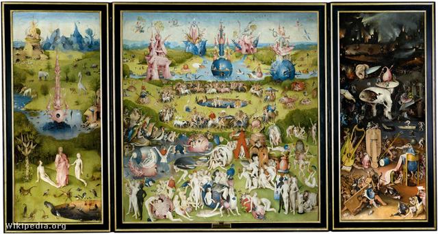A gyönyörök kertje triptichon, Bosch legismertebb műve, a Pradóban látható