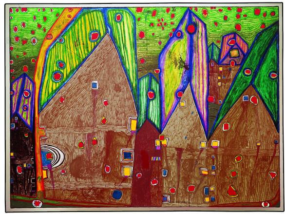 Hundertwasser: HÄUSER IM BLUTREGEN, 1961