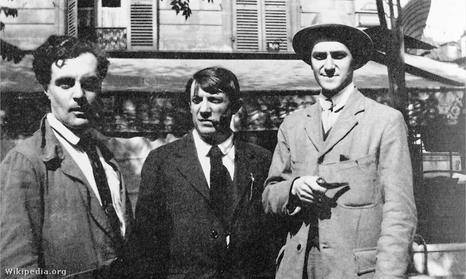 Modigliani, Picasso és André Salmon 1916-ban