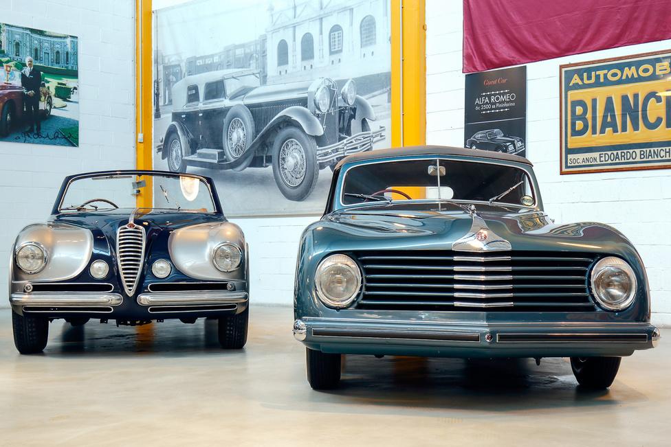 Touring Superleggera karosszériás Alfa Romeo 6C 2500 SS Touring Villa d'Este kabrió 1951-ből és a Giovanni Michelotti tervezte, 1947-es 6C 2500 S. Utóbbi karosszériája a Stabilimenti Farina műhely munkája.