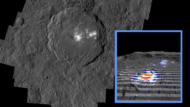 Az Occator-kráterben található fehér foltok, melyek valójában nátrium-karbonátból állnak. A kis képen a színek a nátrium-karbonát koncentrációját mutatja, ahol a piros szín nagy, a szürke kis koncentrációt jelöl.