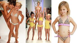 Botrányt keltettek a bikinis kislányok