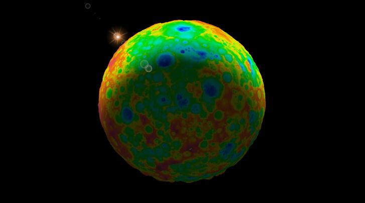 A Ceres legnagyobb megmaradt, becsapódásból származó 280 kilométer átmérőjű krátere a Kerwan, a perem közelében. A színek a szintmagasságot jelzik. A kék a mély a vörös a magas.