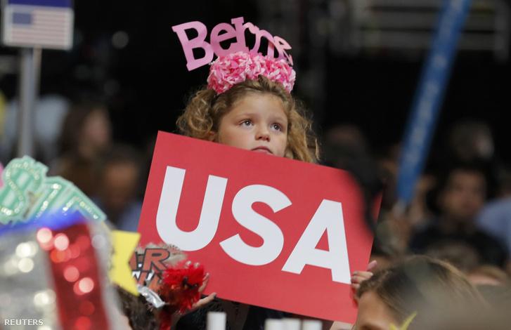 Bernie Sanders-szavazó a demokrata konvención, Philadelphiában, 2016. július 28-án