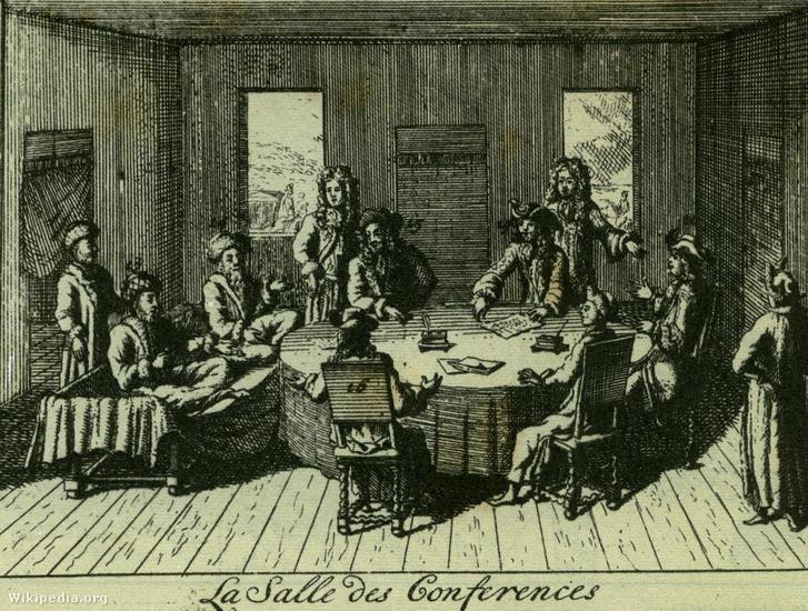 A karlóciai béketárgyalások (Ismeretlen németalföldi mester metszete, 1699)