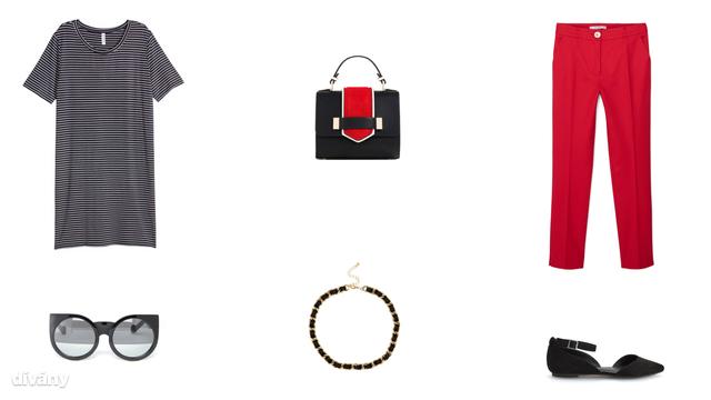 Ruha - 3490 Ft (H&M), táska - 9995 Ft (Zara), nadrág - 6995 Ft (Mango), napszemüveg - 10 font (Asos), nyaklánc - 7,99 font (Topshop) , cipő - 7495 Ft (Reserved)