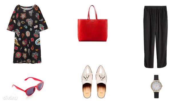 Ruha - 3995 Ft (Zara), táska - 4595 Ft (Mango), nadrág - 5990 Ft (H&M), napszemüveg - 16,95 euró (Promod), papucs - 31,30 font (Asos), óra - 75 font (Topshop)