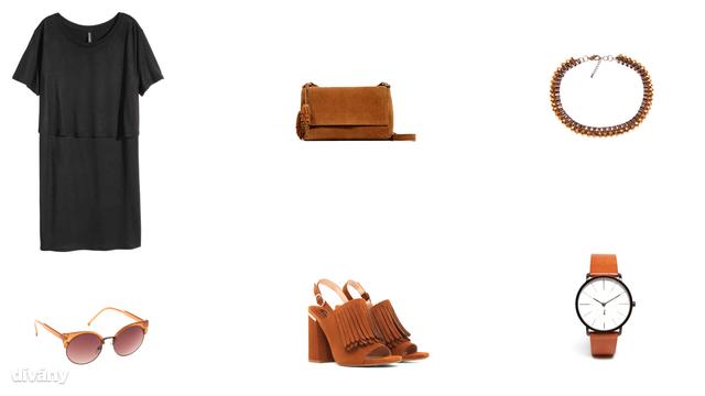 Ruha - 2790 Ft (H&M), táska - 8995 Ft (Zara), nyaklánc - 795 Ft (Reserved), napszemüveg - 5495 Ft (Parfois), szandál - 10995 Ft (Mango), óra - 175 font (Asos)