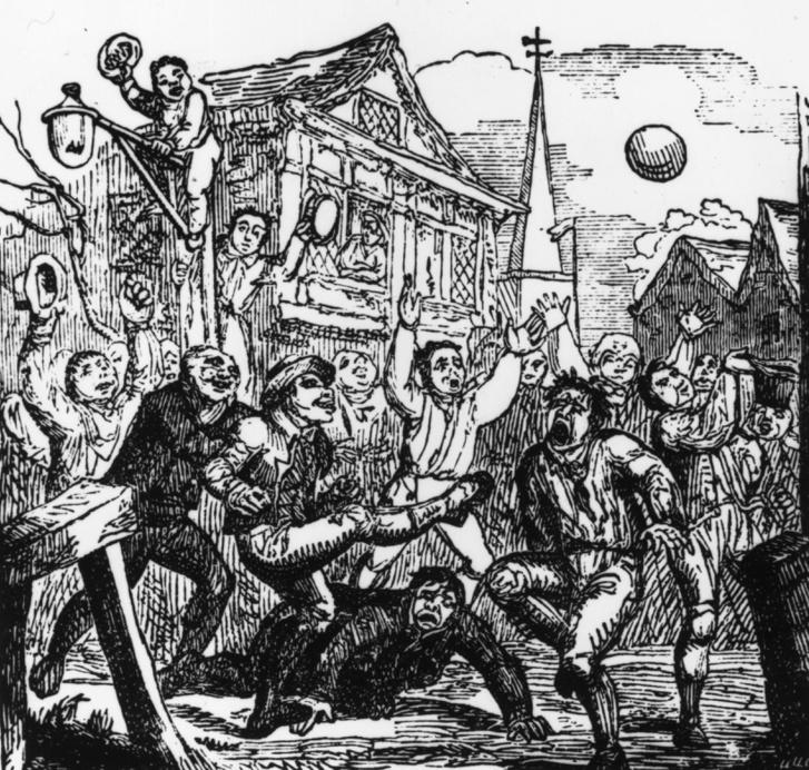 Futball meccs szurkolókkal egy 1771-es metszeten