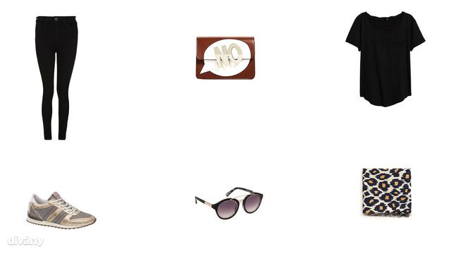 Nadrág - 4990 Ft (F&F), táska - 9995 Ft (Zara), póló - 2990 Ft (H&M), cipő - 7490 Ft (Deichmann) , napszemüveg - 7495 Ft (Parfois), sál - 4595 Ft (Mango)