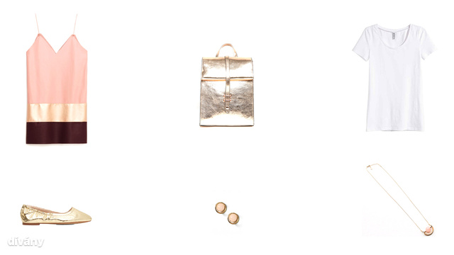 Ruha - 9995 Ft (Zara), hátizsák - 28 font (Asos), póló - 1290 Ft (H&M), cipő - 1995 Ft (Mango), fülbevaló - 6 font (Topshop), nyaklánc - 1495 Ft (Reserved)