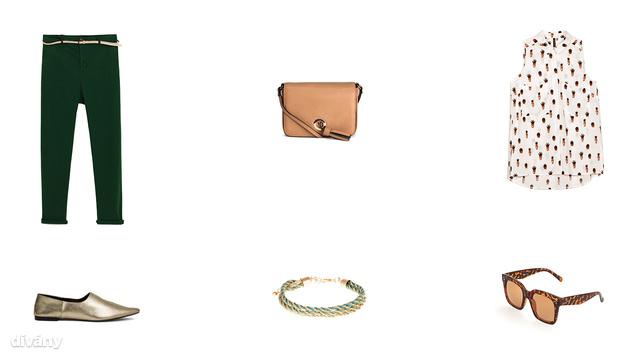 Nadrág - 9995 Ft (Zara), táska - 3990 Ft (H&M), blúz - 2595 Ft (Stradivarius), cipő - 8990 Ft (H&M), karkötő - 1995 Ft (Parfois), napszemüveg - 2995 Ft (Reserved)