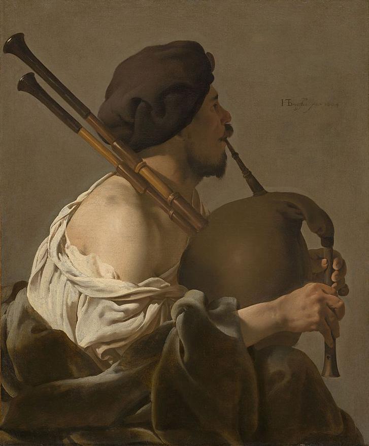 """De doedelzakspeler (""""Bagpipe Player""""), Hendrick ter Brugghen, 1624"""
