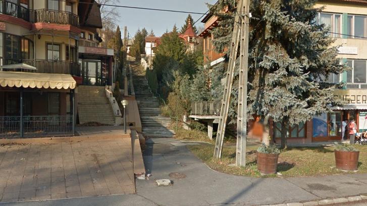 A miskolci Viola utca a Google utcatérképén, ahol még a lépcsősor látható. Ezt az utat aszfaltozták le Szélyes házáig.