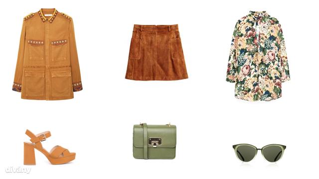 Kabát - 9995 Ft (Mango) , szoknya - 1990 Ft (H&M), - blúz -9995 Ft (Zara), szandál - 9995 Ft (Pull&Bear), táska - 25 font (Asos), napszemüveg - 16 font (Topshop)
