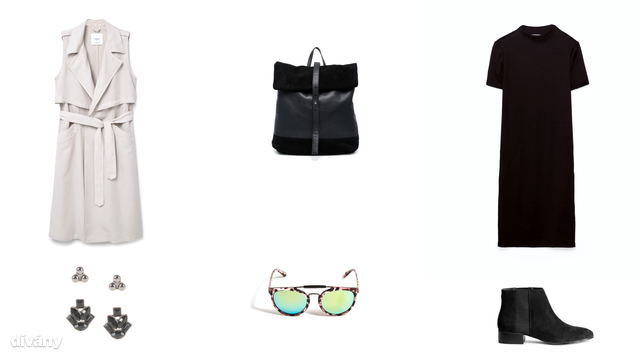 Hosszított ,ellény - 13995 Ft (Mango), hátizsák - 55 font (Asos), ruha - 3995 Ft (Zara), fülbevaló - 1995 Ft 8Parfois) , napszemüveg - 1995 Ft (Reserved), bokacsizma - 8990 Ft (H&M)