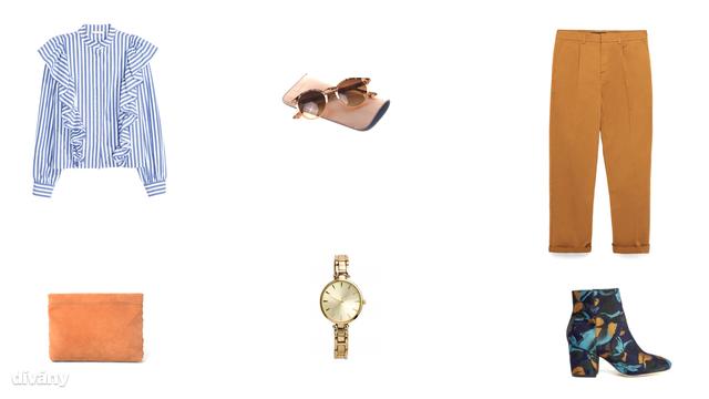Blúz - 9990 Ft , napszemüveg - 4995 Ft (Parfois), nadrág - 9995 Ft (Zara), táska - 5595 Ft (Mango), óra - 5990 Ft (H&M), bokacsizma - 38 font (Asos)