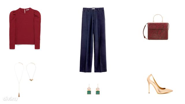 Felső - 5995 Ft (Zara), nadrág - 9990 Ft (H&M) , táska - 9995 Ft (Mango), nyaklánc - 3295 Ft (Parfois) , fülbevaló - 1695 Ft (Parfois), cipő - 24,99 font (Asos)
