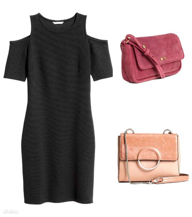 Nyitott vállú ruha - 5990 Ft (H&M) , velúrtáska - 9990 Ft (H&M), táska - 9490 Ft(H&M)