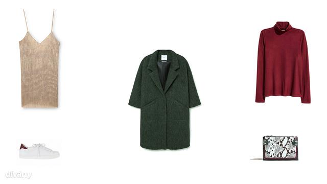 Ruha - 7995 Ft (Pull&Bear), kabát - 39995 Ft (Mango), garbó - 3990 Ft (H&M), cipő - 6495 Ft (Parfois), táska - 9995 Ft (Zara)