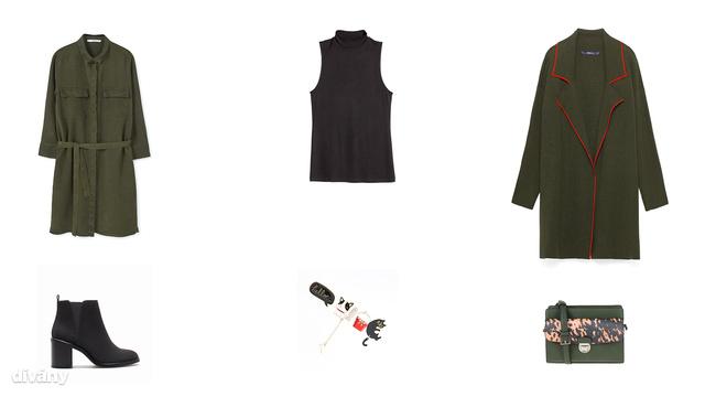 Ruha - 9995 Ft (Mango), magas nyakú póló - 1995 Ft (H&M), kabát - 14995 Ft (Zara), bokacsizma - 8995 Ft (Stradivarius), kitűzők - 1995 Ft (Reserved), táska - 6995 Ft (Parfois)