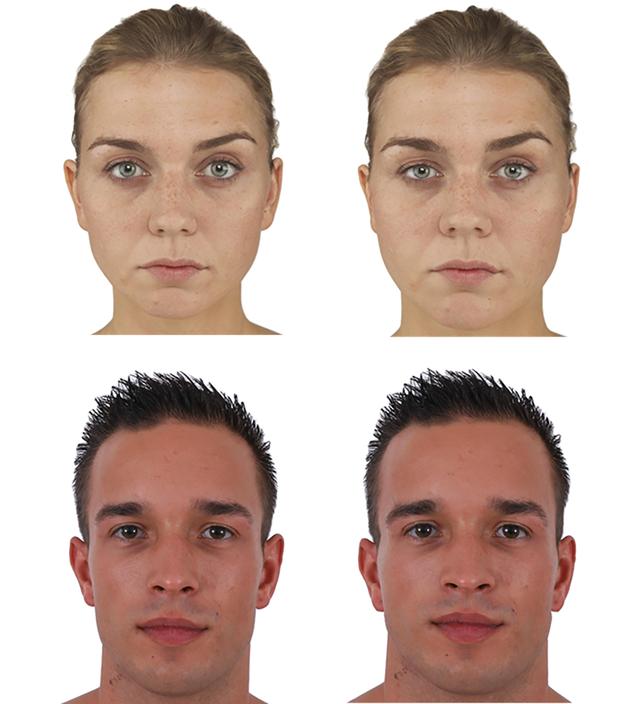 Ezeket a fotókat használták a kutatók: ugyanaz a két személy más-más BMI-vel