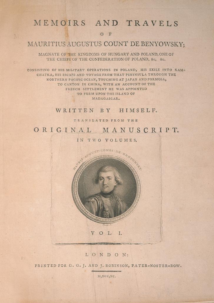 Benovszky 1790-ben megjelent, angol nyelvű életrajzához készült illusztráció