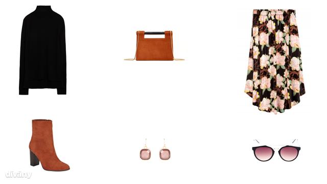 Garbó - 5995 Ft (Zara) , táska - 9995 Ft (Mango), szoknya - 9490 Ft (H&M), csizma - 9590 Ft (F&F) , fülbevaló - 1695 Ft (Parfois) , napszemüveg - 2995 Ft (Stradivarius)