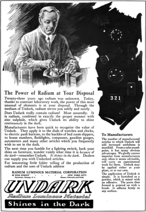 Undark (Radium Girls) advertisement, 1921, retouched.png