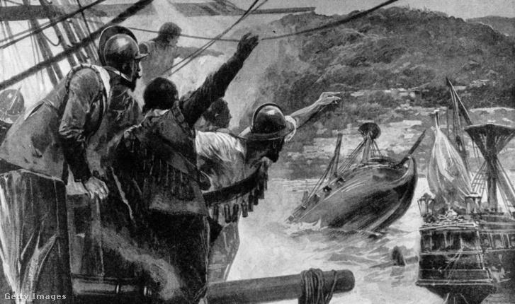 Spanyol hajót elsüllyesztő angol csatahajók Jamaika partjainál