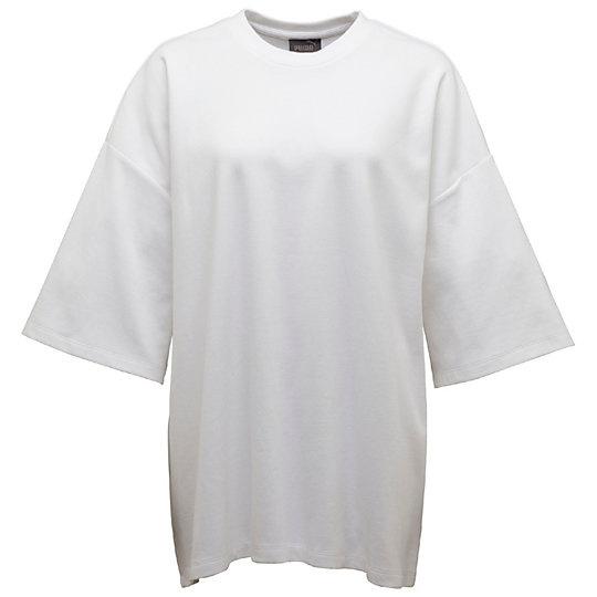 80 dollárba, 21.975 forintba kerül ez a Rihanna által tervezett túlméretezett fehér póló a Puma webáruházában.