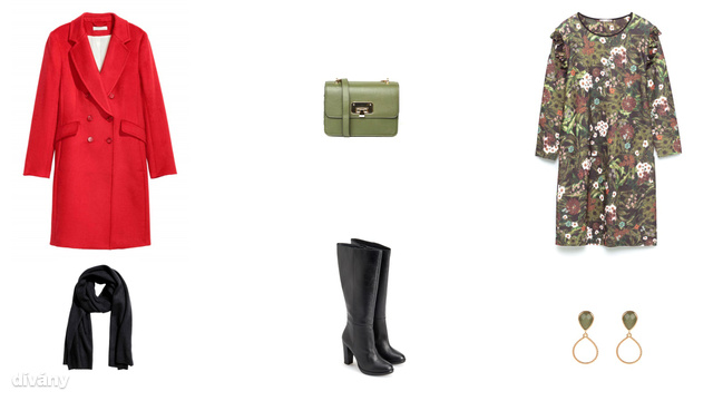 Kabát - 29990 Ft (H&M), táska - 25 font (Asos) , ruha - 8995 Ft (Zara), sál - ,12990 Ft (H&M) csizma - 26995 Ft (Reserved) , fülbevaló - 1995 Ft (Parfois)