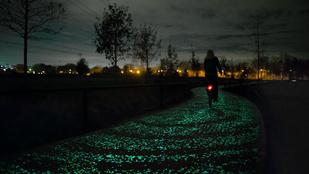 Itt a biciklisták álma: a világító kerékpárút