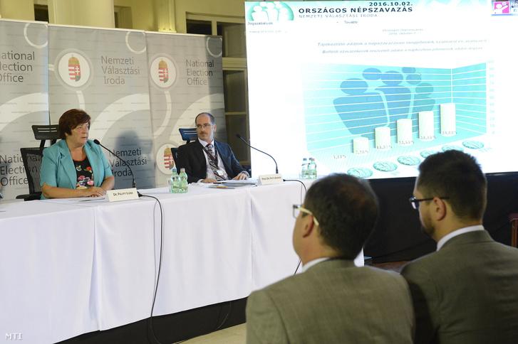 Pálffy Ilona a Nemzeti Választási Iroda elnöke és Patyi András a Nemzeti Választási Bizottság elnöke a kvótareferendumról tartott nemzetközi sajtótájékoztatón a Nemzeti Választási Központban 2016. október 2-án.